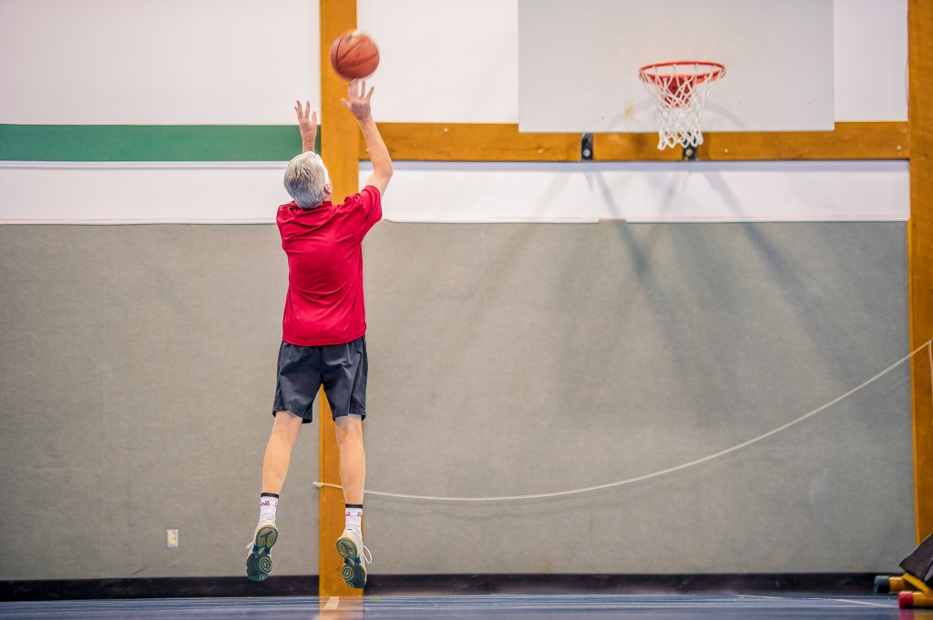Shooting a 3 point shot at the Chota Recreation Center