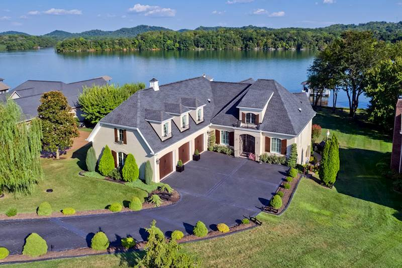 Aerial view view of a beautiful lakefront home in Tellico Village
