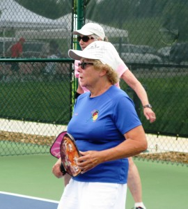 Tellico Village pickleball player, Jean Manchester (in blue) and her Fairfield Glades partner (in pink).