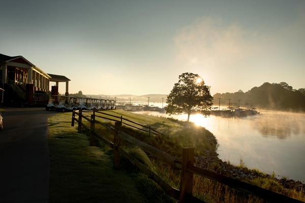 Tanasi Golf Course in the early morning, lake view.
