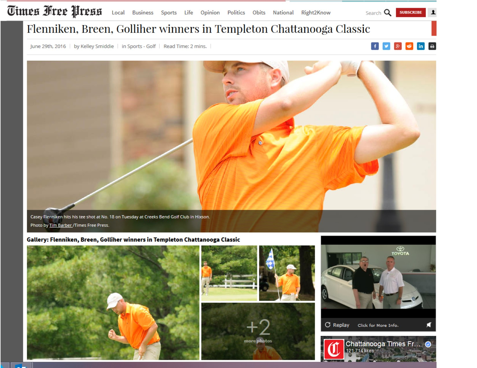 Flenniken, Breen, Golliher winners in Templeton Chattanooga Classic