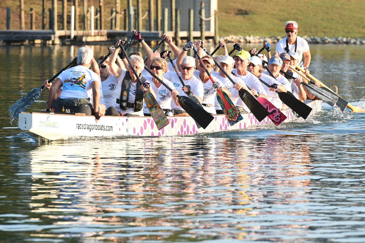 Villagers participating in the dragon boat race on Tellico Lake